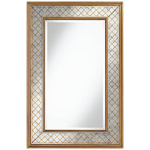"""Gold Crossed 28"""" x 42"""" Etched Glass Mirror"""