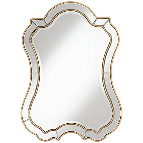 """Gold Hourglass 29"""" x 40"""" Traditional Wall Mirror"""