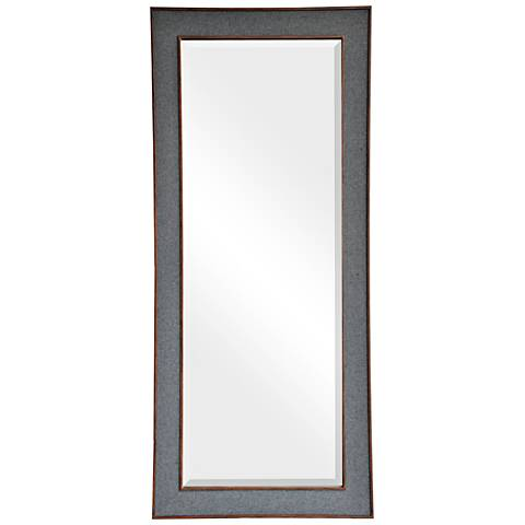 "Adelie Gray Fabric 24"" x 60"" Wall Mirror"