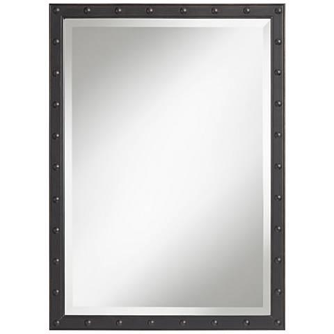 """Nail Head 28""""x38"""" Bronze Frame Wall Mirror"""
