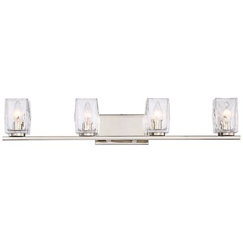 "Kitta 33 3/4"" Wide Polished Nickel 4-Light Bath Light"