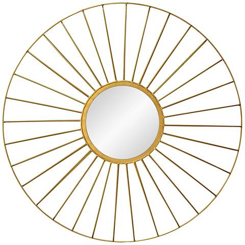 "Parlier Gold Leaf 35"" Round Wall Mirror"