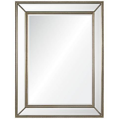 """Phoebe Silver Leaf Beading 40"""" x 51"""" Oversized Wall Mirror"""