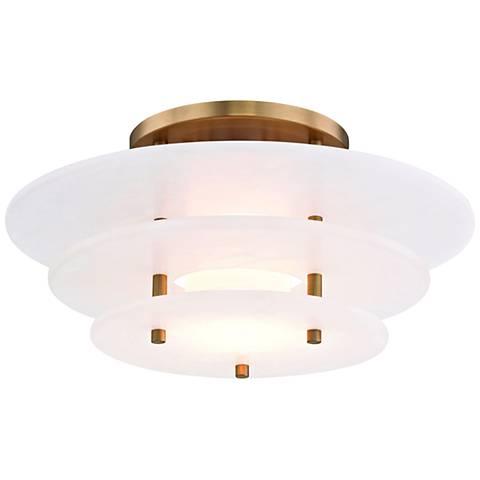 "Hudson Valley Gatsby 15 3/4""W Aged Brass LED Ceiling Light"