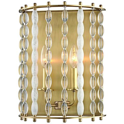"Hudson Valley Whitestone 14""H Aged Brass 2-Light Wall Sconce"