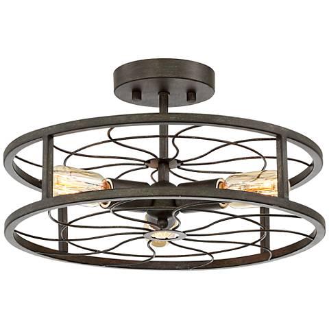 "Bailey 16"" Wide Antique Iron 3-Light Ceiling Light"