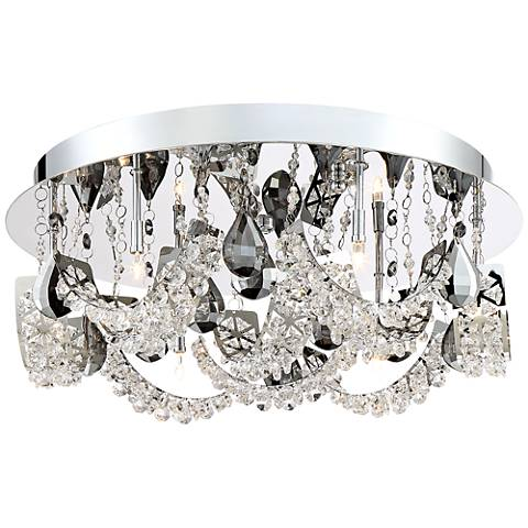 "Half-Rings 17""W Crystal Ceiling Light by Possini Euro Design"