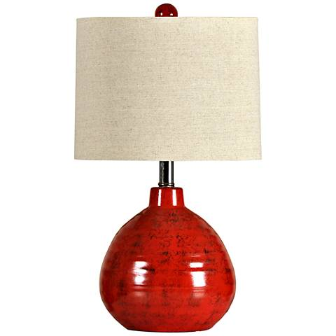 Cain Apple Red Ceramic Accent Table Lamp