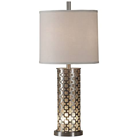 Peoria Silver Brushed Steel Table Lamp with Night Light