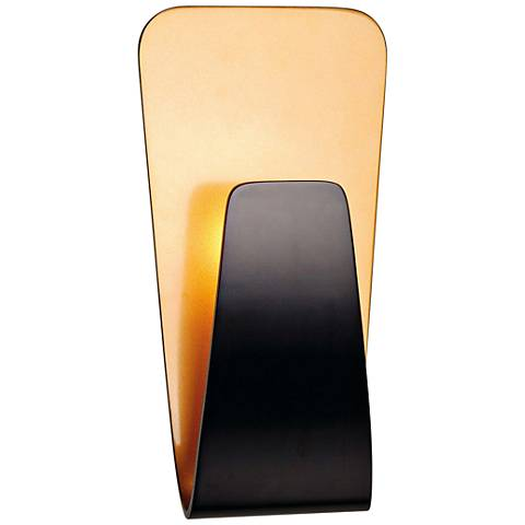 """Scoop 10 1/2"""" High Black and Gold LED Wall Sconce"""