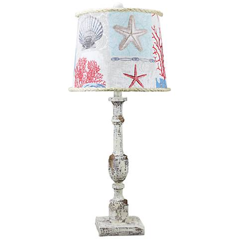 Harlan Distressed Ivory Table Lamp with Nautical Patch