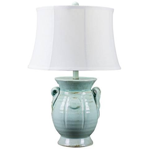 St Tropez Aqua Blue Urn Ceramic Table Lamp