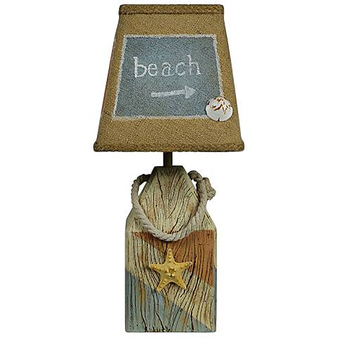 Starfish Buoy Blue and Coral Accent Table Lamp