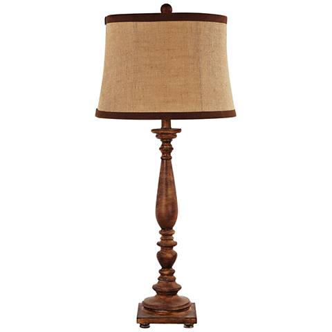Liberty Stained Brown Wood Table Lamp