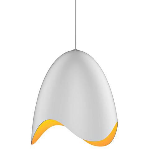 "Sonneman Waveforms 14"" Wide Satin White LED Pendant Light"