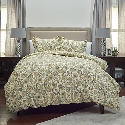 Madame Fleur 3-Piece Tan Comforter Set
