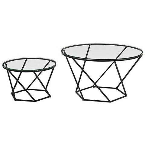 Geometric Glass Top Black 2-Piece Nesting Coffee Table Set