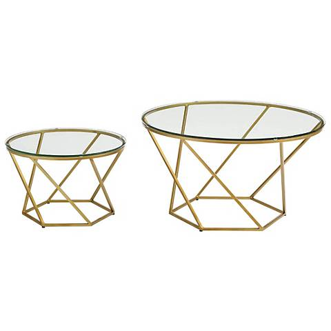 Geometric Glass Top Gold 2 Piece Nesting Coffee Table Set 24w41 Lamps Plus