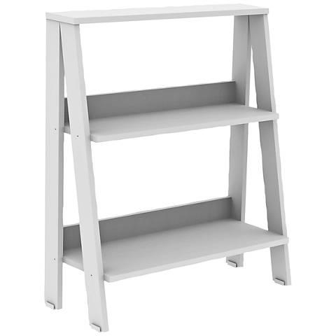Fargo White Wood 2-Shelf Ladder Bookshelf