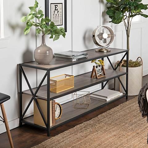 Creston Gray Driftwood Large 3-Shelf Media Bookshelf