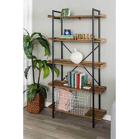 Urban Pipe Brown Barnwood 5-Shelf Bookshelf