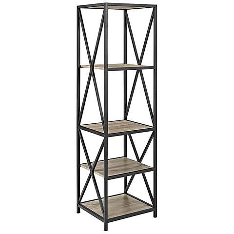 Soccoro Gray Driftwood 4-Shelf Media Bookshelf