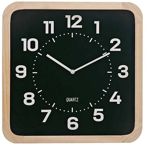 Colton Light Brown Wood and Matte Black Front Table Clock
