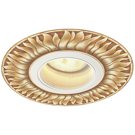 "Juno 5"" White Recessed Trim with Florentine Sun Medallion"