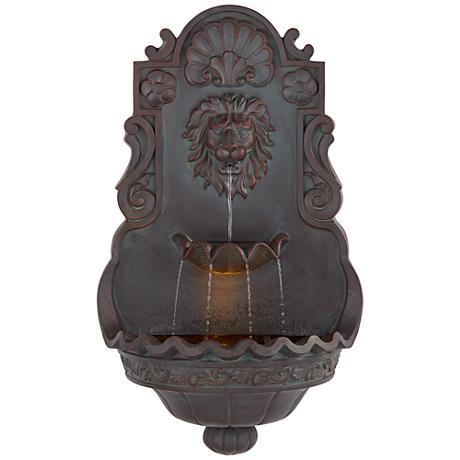 """Lion Head Iron - Bronze 31 1/2"""" High Indoor Outdoor Fountain"""