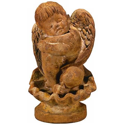 """Li'l Angel on Seashell 12 1/2"""" High Garden Accent Sculpture"""