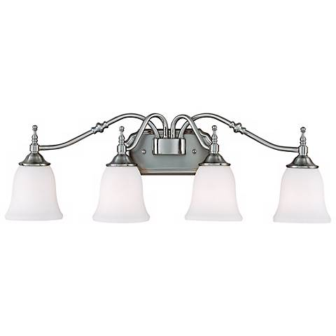 "Tritan Nickel Finish 30 1/2"" Wide Four Light Bath Fixture"