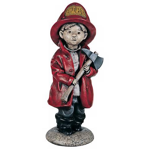 """Little Firefighter 18 1/2"""" High Yard Decor Garden Sculpture"""