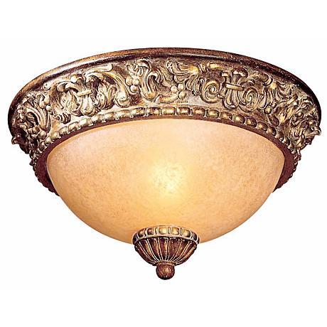 "Belcaro Walnut 11 1/2"" Wide Champagne Glass Ceiling Light"