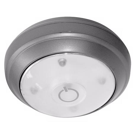 rite lite battery powered grey led under cabinet puck light 27955 lamps plus. Black Bedroom Furniture Sets. Home Design Ideas