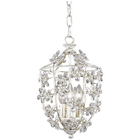 Crystorama Antique White Lantern Pendant Chandelier