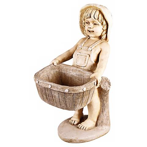 "Petite Girl Planter 23"" High Garden Accent"