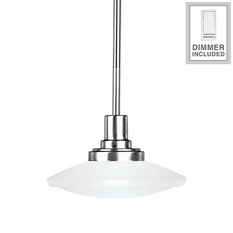 """Structures 9"""" Wide Brushed Nickel Mini Pendant with Dimmer"""