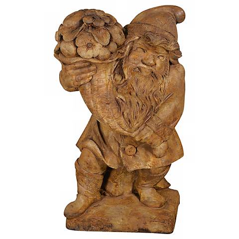 "Henri Studio Gnome of Plenty 24""H Cast Stone Garden Accent"