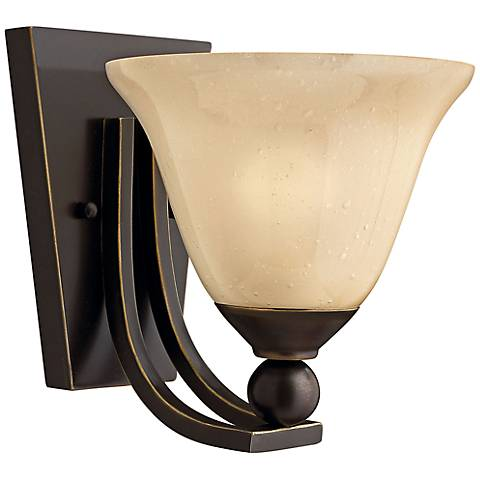 "Bolla 8 1/2"" High Bronze Wall Sconce w/ Amber Seedy Glass"