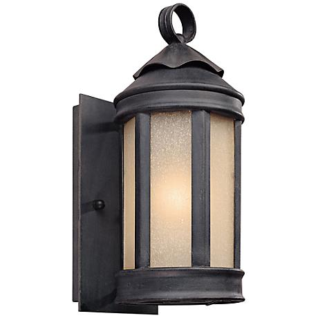 "Anderson Forge 12"" High Antique Iron Outdoor Wall Light"