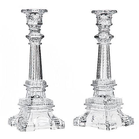 Godinger Eiffel Tower Crystal Taper Candle Holder Set of 2