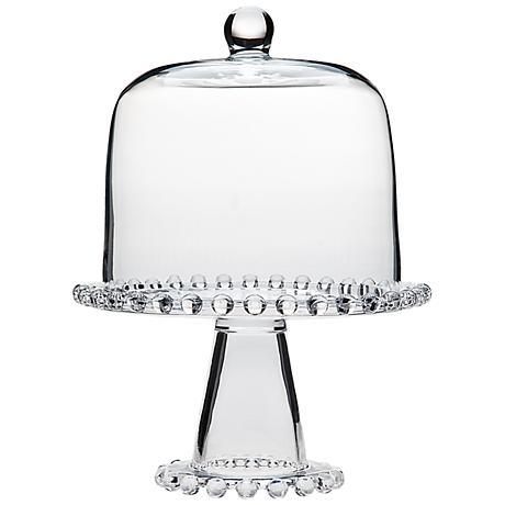 "Godinger Chesterfield Beaded 8"" Round Domed Glass Cake Plate"