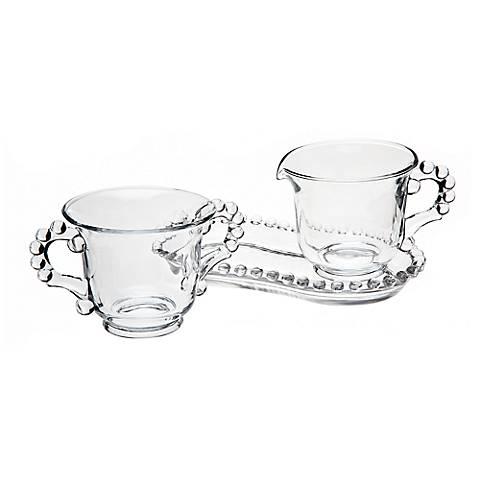 Godinger Chesterfield Beaded Glass Sugar/Creamer Set