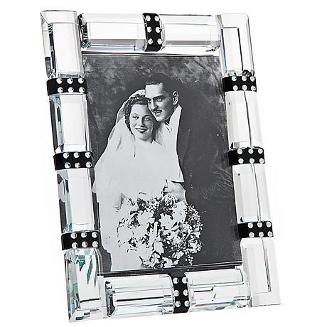"""Godinger Cherish 4""""x6"""" Banded Crystal Photo Frame"""