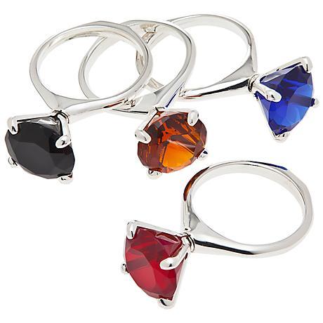 Set of 4 Godinger Colored Diamond Ring Napkin Rings