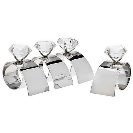 Set of 4 Godinger Arch Diamond Silver Napkin Rings