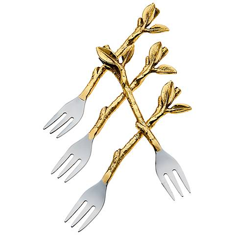 Set of 4 Godinger Leaf Design Dessert Forks