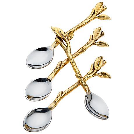 Set of 4 Godinger Leaf Design Dessert Spoons