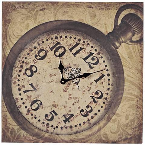 "Pocket Watch 20"" Wide Beige and Dark Brown Wall Clock"