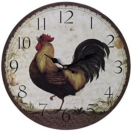 """Rooster 13"""" Wide Cream Wall Clock"""